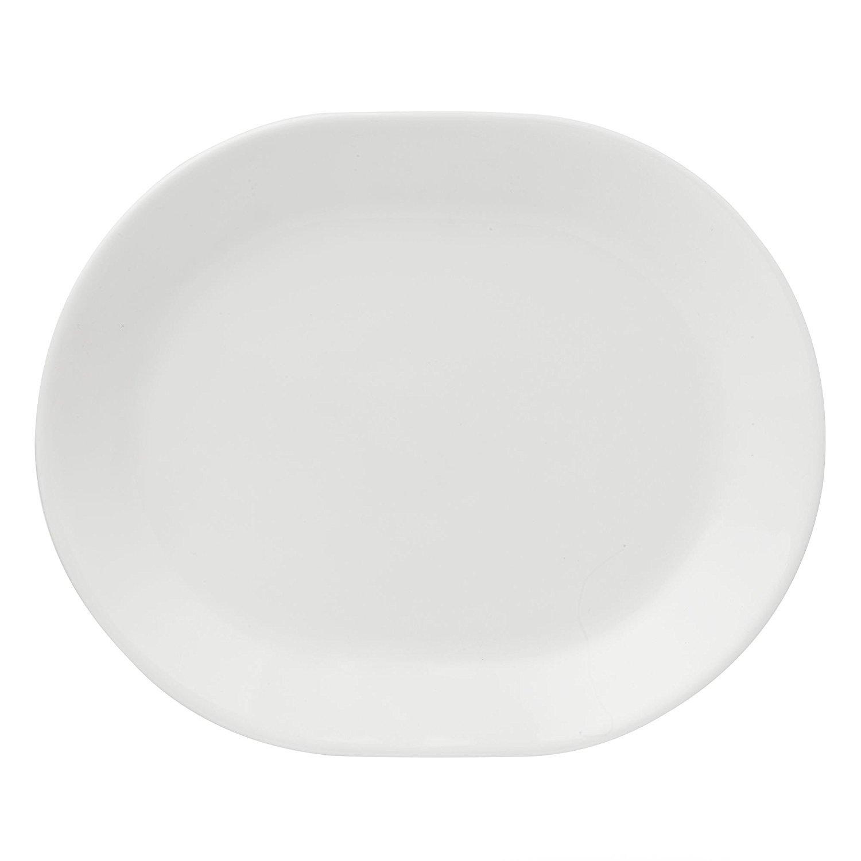 Corelle Livingware 12-1/4-Inch Serving Platter, Winter Frost White (Winter Frost White x2)