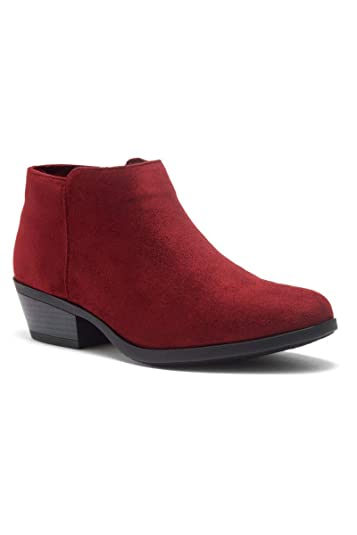 4ee7be02f37 Herstyle Chatter Women s Western Ankle Bootie Closed Toe Casual Low Stacked  Heel Boots Burgundy 5.0
