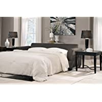 Levon Collection 7340339 96 Queen Sofa Sleeper with Fabric Upholstery Piped Stitching Tapered Block Feet and Contemporary Style in Charcoal