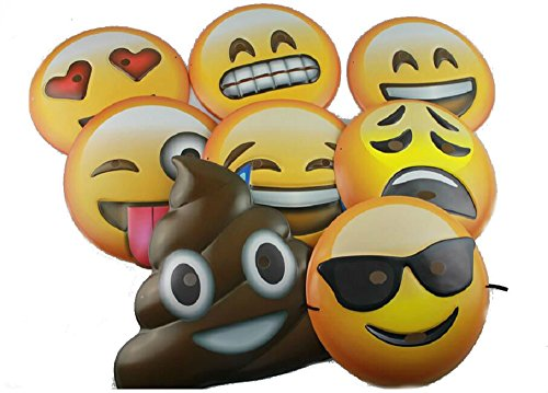 Emoji Vacuform Party Masks (Pack of 8)