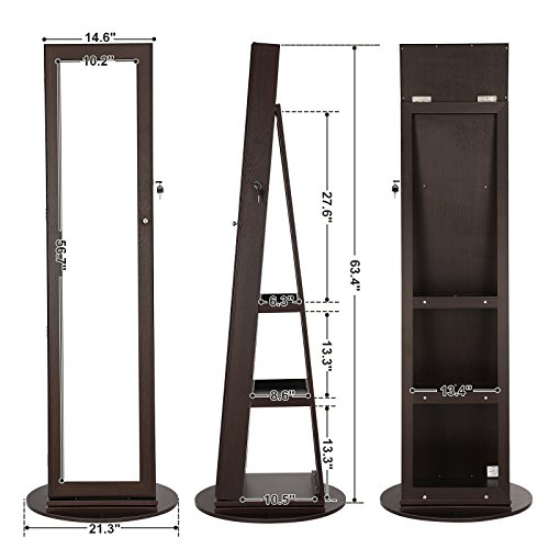 SONGMICS Jewelry Cabinet Armoire 360° Rotatable Higher Mirror, Lockable Jewelry Organizer Mother's Day Gift UJJC62BR by SONGMICS (Image #6)