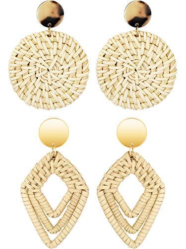 meekoo 2 Pairs Rattan Hoop Earrings Straw Wicker Earrings Dangle Drop Earrings for Birthday Mother's Day Graduation Gift (Style B)