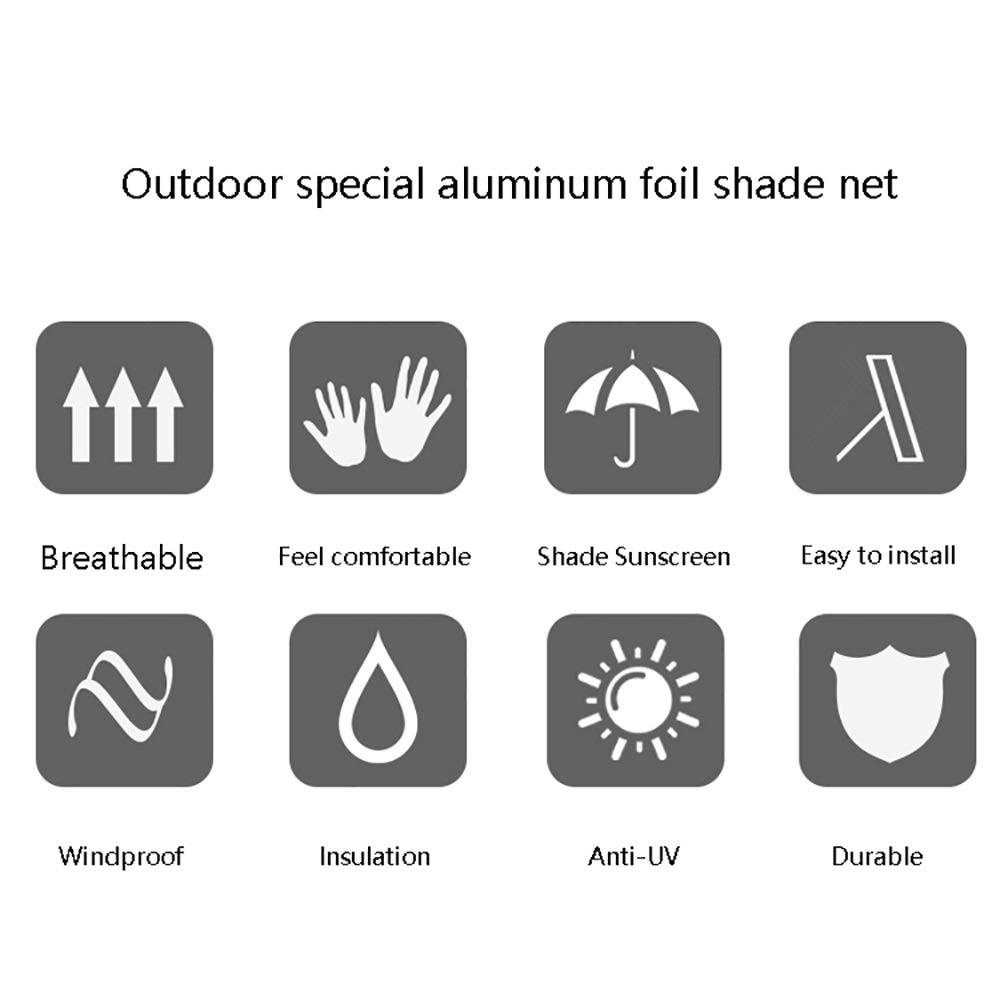 Sonnenschutz-Schatten-Plane Im Freien f/ür Patio-Balkon-Dachfensterbrett ㎡ 85/% Isolations-reflektierendes Aluminiumfolie-Schatten-Netz 150g
