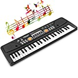 Kids Keyboard 49-Key Piano Rechargable Electronic Piano Keyboard with Microphone Multi-Function Musical Piano for Kids Birthday Gift 20.86 Inch (Black)