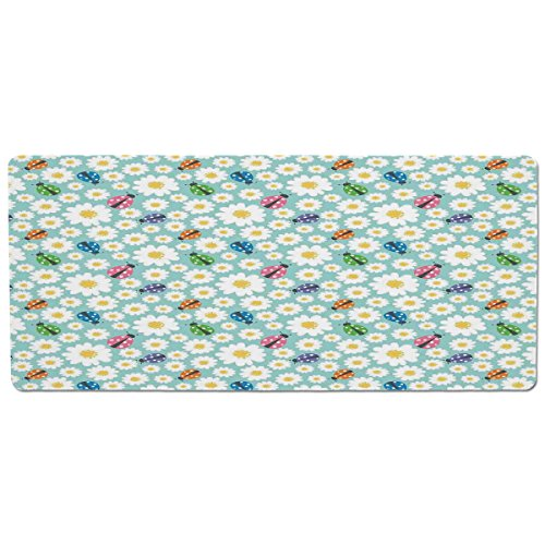 ood and Water,Ladybugs,Colorful Daisies and Ladybirds Image Good Luck Charm Discover Your True Self Concept,Multi,Rectangle Non-Slip Rubber Mat for Dogs and Cats ()
