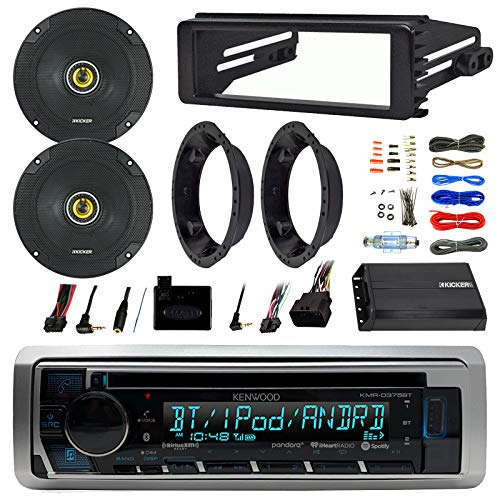 Kenwood KMRD372BT Stereo Bluetooth Receiver W/ Dash Kit Bundle Combo With 2x Kicker 6.5