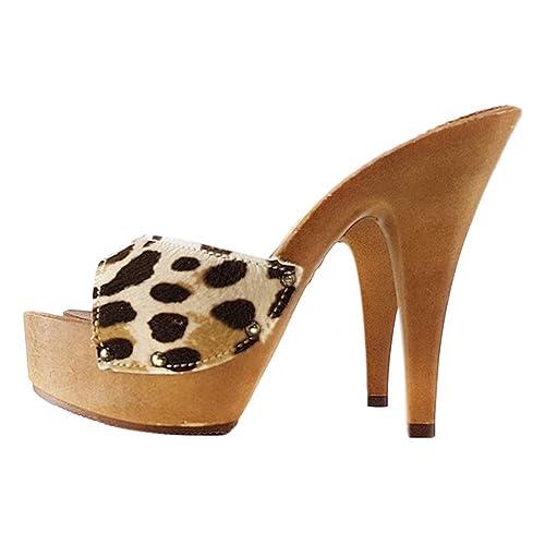Clogs Kiara Leopardati K93001 Zoccoli Shoes Sexy 435ALjqR