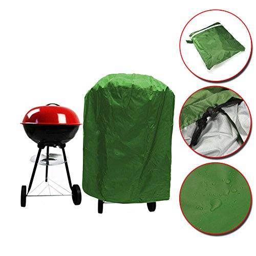 Grill Cover, Small 58 x 77cm Round Barbeque Cover Waterproof Dustproof Outdoor Patio Grill Protector, Built-in Adjustable Draw Cord, Green For Sale