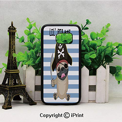 Buccaneer Dog in Cartoon Style Costume Holding Sword Lil Pirate Striped Backdrop Samsung S7 Case for Girls Women Hard Back Shock Drop Proof Impact Resist Protective Case for Samsung S7 Multicolor]()