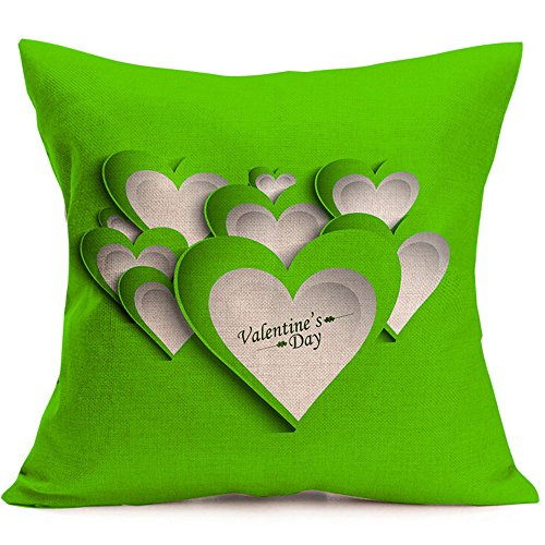Love Throw Pillow Covers Valentines Day Pillowcase Red Love Heart Pillow Case Cover 18''x18'' Cotton Cushion Cover Decorative Pillow Case for Valentine's Day Decor (B)