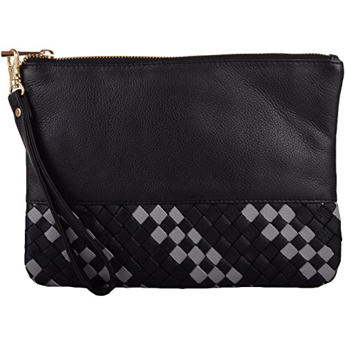 Strap and Leather Soft Diamond Wrist Design Pouch with Clutch Bag Womens Black WqHzw5080