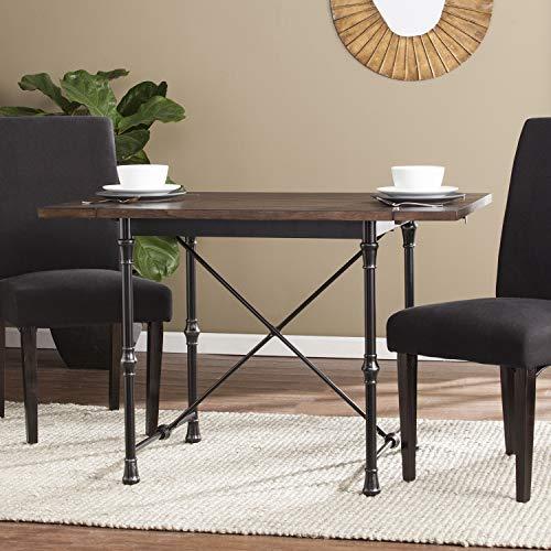 (Southern Enterprises AMZ6980ND Bradford Industrial Farmhouse Drop-Leaf Dining Table, White)