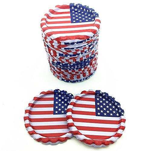 (IGOGO 100 Pcs American Flag Chrome Bottle Caps For Hair Bows DIY Pendants or Craft Scrapbooks)