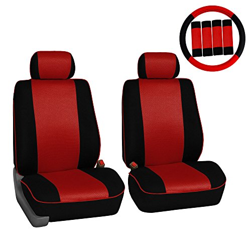 (FH GROUP FH-FB063102 Pair Set Sports Fabric Car Seat Covers, Airbag compatible and Split Bench W. FH2033 Steering Wheel Cover and Seat Belt Pads Red / Black Color- Fit Most Car, Truck, Suv, or Van)