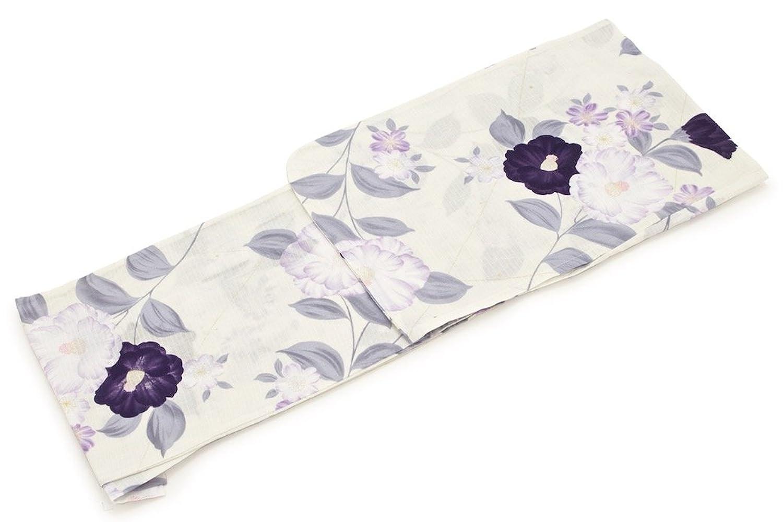 レディース浴衣 bonheur saisons (ボヌールセゾン) 白 オフホワイト 紫紺 椿 ツバキ つばき 綿 紅梅 ラメ 仕立て上がり フリーサイズ B01DGEJNL8