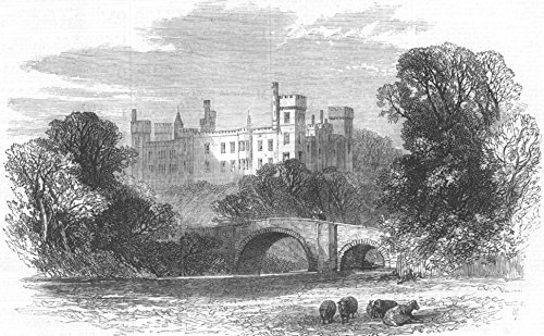 Ireland Lismore Castle - IRELAND. Lismore Castle, visited by Prince Arthur - 1869 - old antique vintage print - engraving art picture prints of Ireland Castles - Illustrated London News