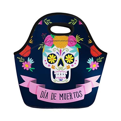 Semtomn Neoprene Lunch Tote Bag Dia De Los Muertos Spanish Text Mexican Sugar Skull Reusable Cooler Bags Insulated Thermal Picnic Handbag for Travel,School,Outdoors,Work]()