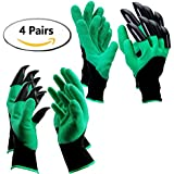 SUPERIORFE Garden Genie Gloves with Claws Hand for Digging & Planting One Size Fits All as Seen On TV, 4 Pairs