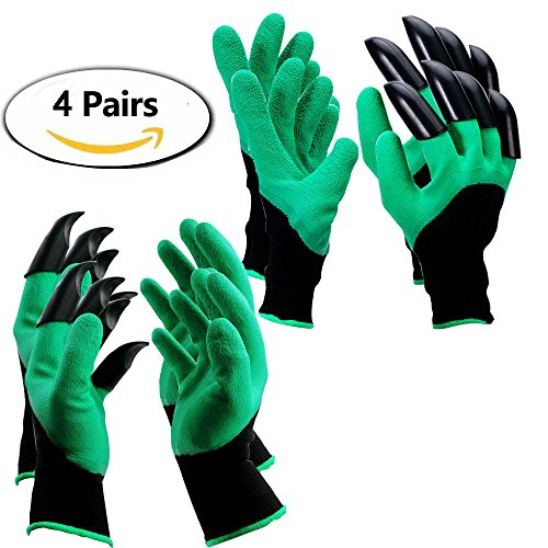 Garden Genie Gloves with Claws Hand for Digging & Planting One Size Fits All as Seen On TV, 4 Pairs