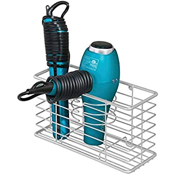 mDesign Modern Metal Wire Bathroom Wall Mount Hair Care & Styling Tool Organizer Storage Basket for Hair Dryer, Flat Iron, Curling Wand, Hair Straightener, Brushes - Holds Hot Tools - Light Gray