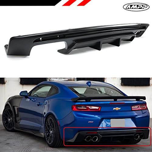 (Fits for 2016-2018 Chevy Camaro LT RS SS AMPP Brand Shark Fin Sport Rear Bumper Diffuser Replacement PP)