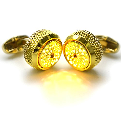 WSHYKJ Men's Cufflinks LED Cufflinks Cufflinks Glowing Cufflinks Night Flashing Gemstone Light Cufflinks Stylish Cufflinks Tuxedo Shirts Business Weddings Groomsmen's Day Party Holiday Gift (Gemstone Yellow Cufflinks)