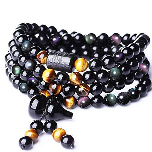 MGZDH Natural Color Eye Obsidian six-Word Mantra Barrel Beads Bracelet 108 Beads Gourd Men and Women 6-8mm