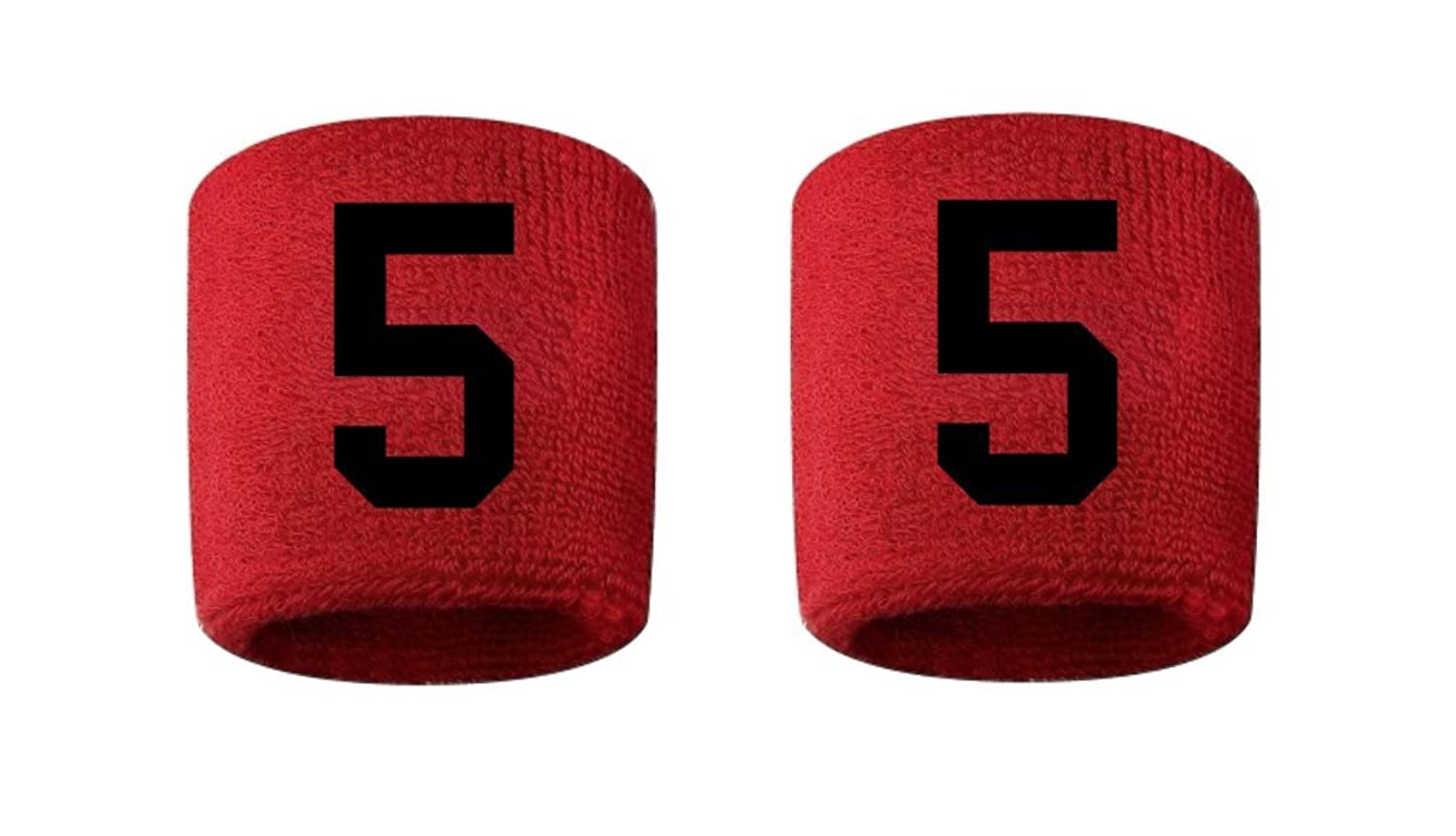 #5 Embroidered/Stitched Sweatband Wristband RED Sweat Band w/ BLACK Number (2 Pack)