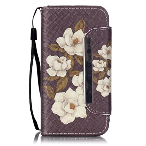 5C Case,iPhone 5C Case£¬LYO[Card Slot] Stand Feature Magnetic Closure Premium PU Leather Wallet Folio Flip Case Protective Cover for Apple iPhone 5C with Hand Strap[Begonia flowers]