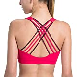 Matymats Women's Wire-Free Sport Bra With Removable Pads Medium Support for Yoga, Pilates, Walking, Running, Dance,Two-tone Red,L / 38A 36-38B 36-38C 34D