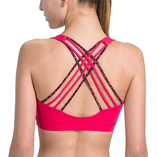 Matymats Women's Wire-Free Sport Bra With Removable Pads Medium Support for Yoga, Pilates, Walking, Running, Dance,Two-tone Red,L / 38A 36-38B 36-38C - Underwire Tone