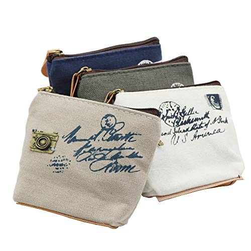 Cute Canvas Change Coin Purse Small Zipper Pouch Bag Wallet by Aiphamy, 3/4 Pack (Retro Style, 4 Pack)