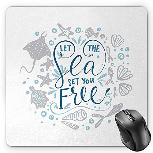 Nautical Mouse Pad, Let The Sea Set You Free Quote with Shellfish Turtle and Stingray Gaming Mousepad Office Mouse Mat Pearl Navy Blue Pale Blue (Stingray Mouse Pad)