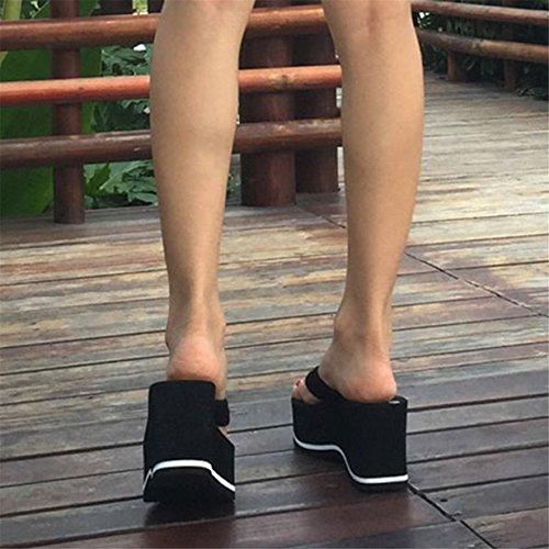 Lalang Damen Plattform Keilabsatz Zehenriemen Sommer Urlaub Flip Flops Sandalen Schwarz