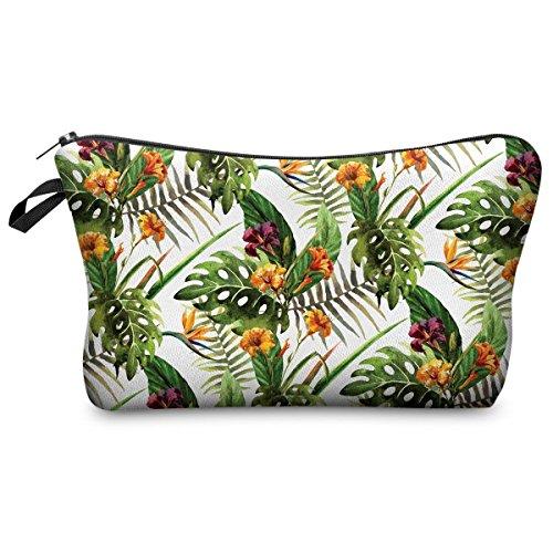 Mens Ladies Toiletry Bag Vanity case Make up Pencil case Tropical Flower [009] (Tropical Makeup Vanity)