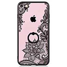 iPhone 7 Case, SwiftBox Clear Black Design Built-in Ring Kickstand Coated Premium Non Slip Surface Case for iPhone 7 with Tempered Glass Screen Protector (Black Mandala Floral)