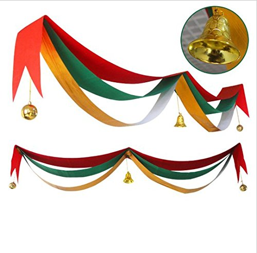 URToys 5M Christmas Colorful 3 Layer Wave Hanging Banner Flag Balls Jingle Bells Party Decoration Ornaments For Home Gotels Restaurants Party