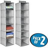 mDesign Fabric Hanging Closet Storage Organizer for Clothing, Sweaters, Shoes, Accessories - Pack of 2, 6 Shelves Each, Gray