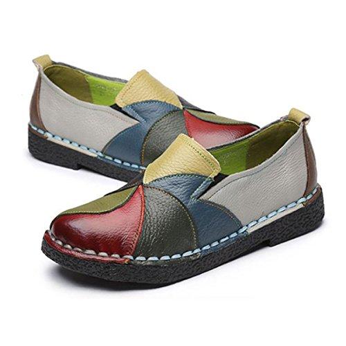 Socofy Slip-on Dagdriver, Kvinner Rainbow Lær Uformell Loafer Flat Sko Kjøre Loafers Moccasin Tøfler Grønne
