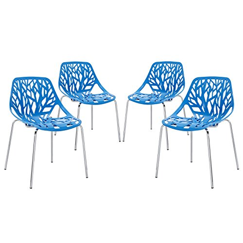 Modway Stencil Stackable Dining Side Chair in Blue - Set of (Cast Seat Side Chair)