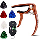 Ohuhu Guitar Capo for Acoustic, Electric Guitars, Ukulele, Zinc Alloy- Quick Change Guitar Capo With Free 5 Picks & Pick Holder(RoseWood Color), Acoustic Guitar Accessories Trigger Capo Key Clamp
