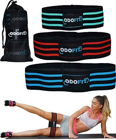 ODOFIT Booty Squat Leg Fabric Resistance Bands Gym Workout Equipment for Home – Butt Glutes Thigh Exercise Workout Bands for Women – Set of 3 Non Slip Butt Hip Bands for Warm-Up Men