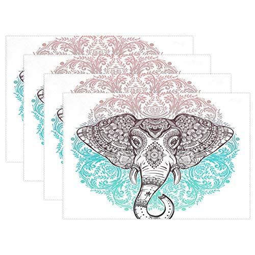 - Placemats Paisley Elephant Flower Kitchen Table Mats Resistant Heat Placemat for Dining Table Washable 12