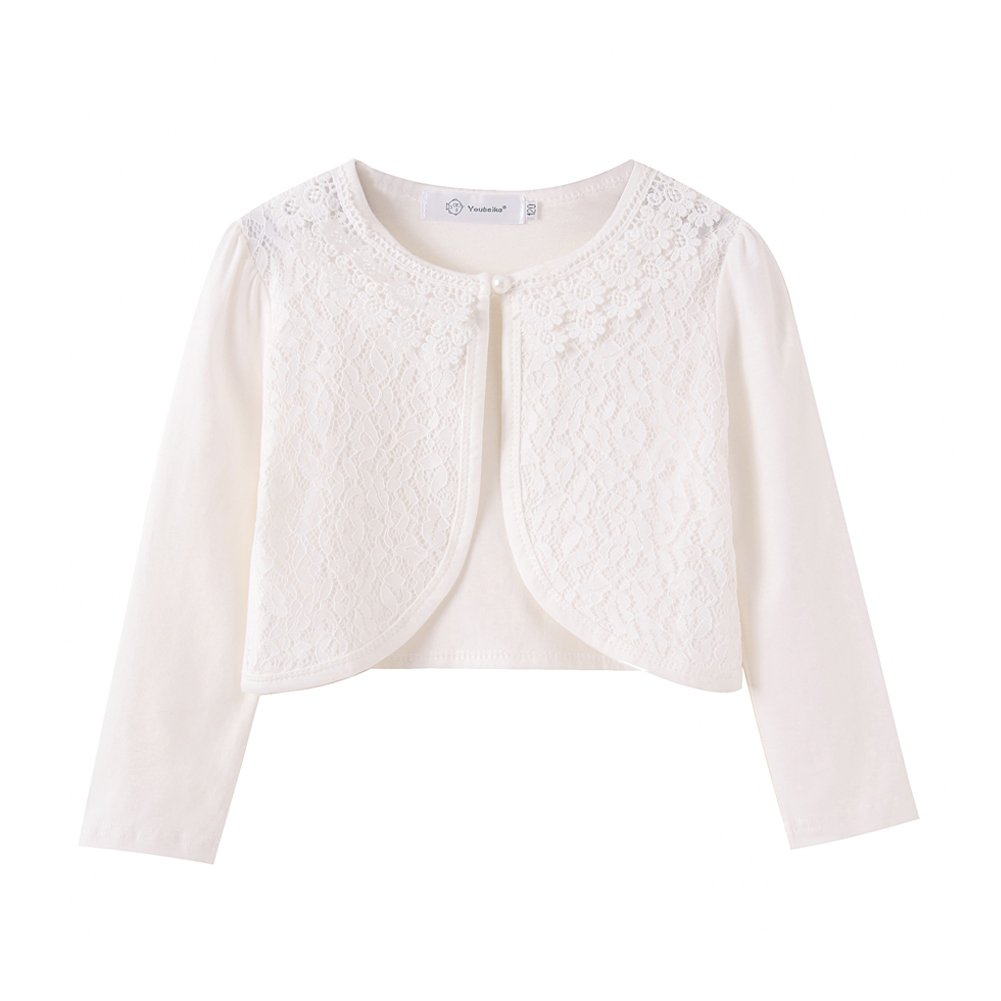 ZHUANNIAN Little Girls' Long Sleeve Lace Bolero Cardigan Shrug(6-7,Off White)
