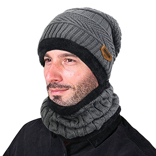 VBIGER Beanie Hat Scarf Set Knit Hat Warm Thick Winter Hat For Men (Grey) Mens Hats Accessories