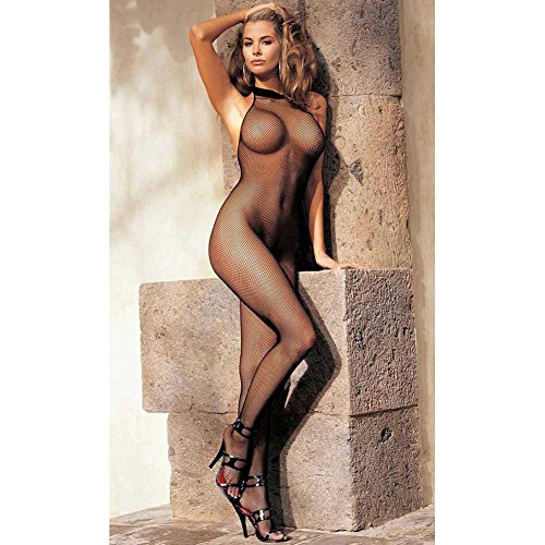 Shirley of Hollywood IS-SOH-90001 Fishnet Halter Body Stocking. O/S Black