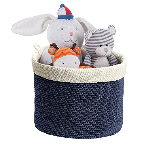 mDesign Knit Baby Nursery Closet Organizer Bin for Stuffed Animals, Toys, Blankets, Towels - Large, Navy/Ivory by mDesign
