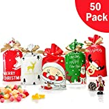50 Pcs Christmas candy bag Christmas treat bags Candy Goodies Plastic Drawstring Gift Bags Merry Christmas Treat Bags for Birthday Party Snack Wrapping Wedding Gift Party Favor Merry X-mas: more info