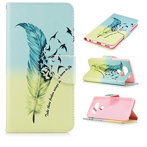 Price comparison product image Case LG V20 Case Tough Shock Proof Impact Resistant Protective Wallet Cases Covers for LG V20 Phone,PU Leather Case Cover With Credit Card Cash Slot ID Holder Flip Folio Stand Magnetic Closure-Feather