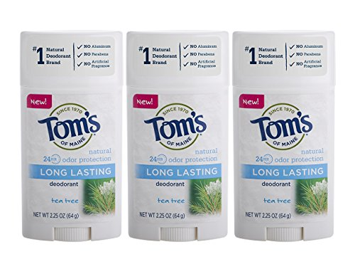 Tom's of Maine Natural Long Lasting Deodorant Multi Pack, Tea Tree, 3 -